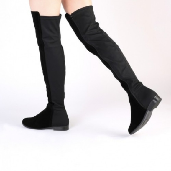 f0d3365f7f0 Public Desire Shoes | Aliana Over The Knee Boots In Black Faux Suede ...